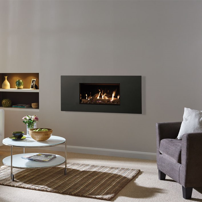 Lightbox Studio 1 Steel glass fronted in Graphite with log fuel bed and black glass lining no hearth Sq