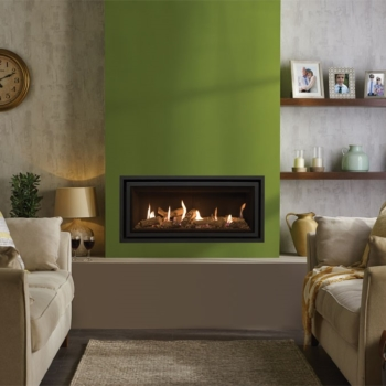 Lightbox Studio 2 Balanced Flue Edge with log effect fuel bed and Black Reeded lining Sq