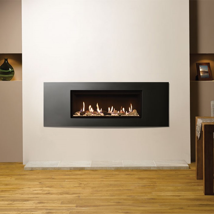 Lightbox Studio 2 CF Verve frame in Graphite with Pebble Stone fuel bed and Black Reeded lining Sq