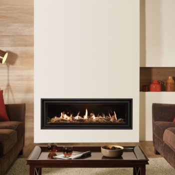 Lightbox Studio 3 BF Edge with Driftwood effect fuel bed and Black Glass lining Sq