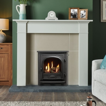 Logic HE CF Slide Control fire with Log effect fuel bed shown with Stockton front Sq
