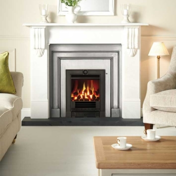 Logic convector Winchester in black with a polished London front Sq