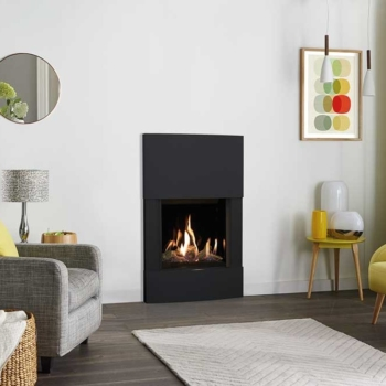 Riva2 500HL Slimline with Esprit Surround in Graphite Steel and EchoFlame Black Glass Lining Sq